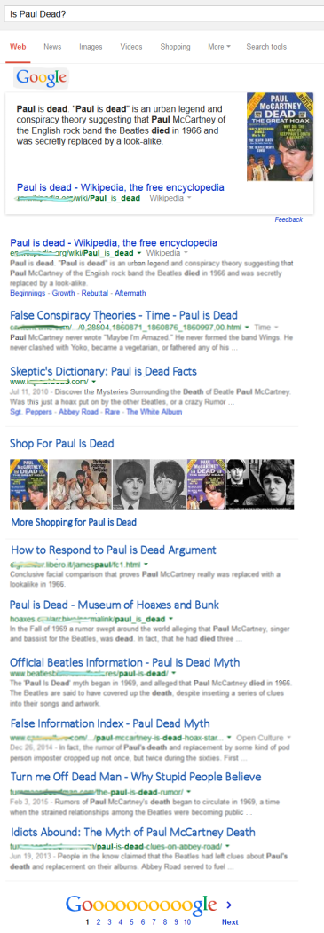 Paul is Dead - we will never know